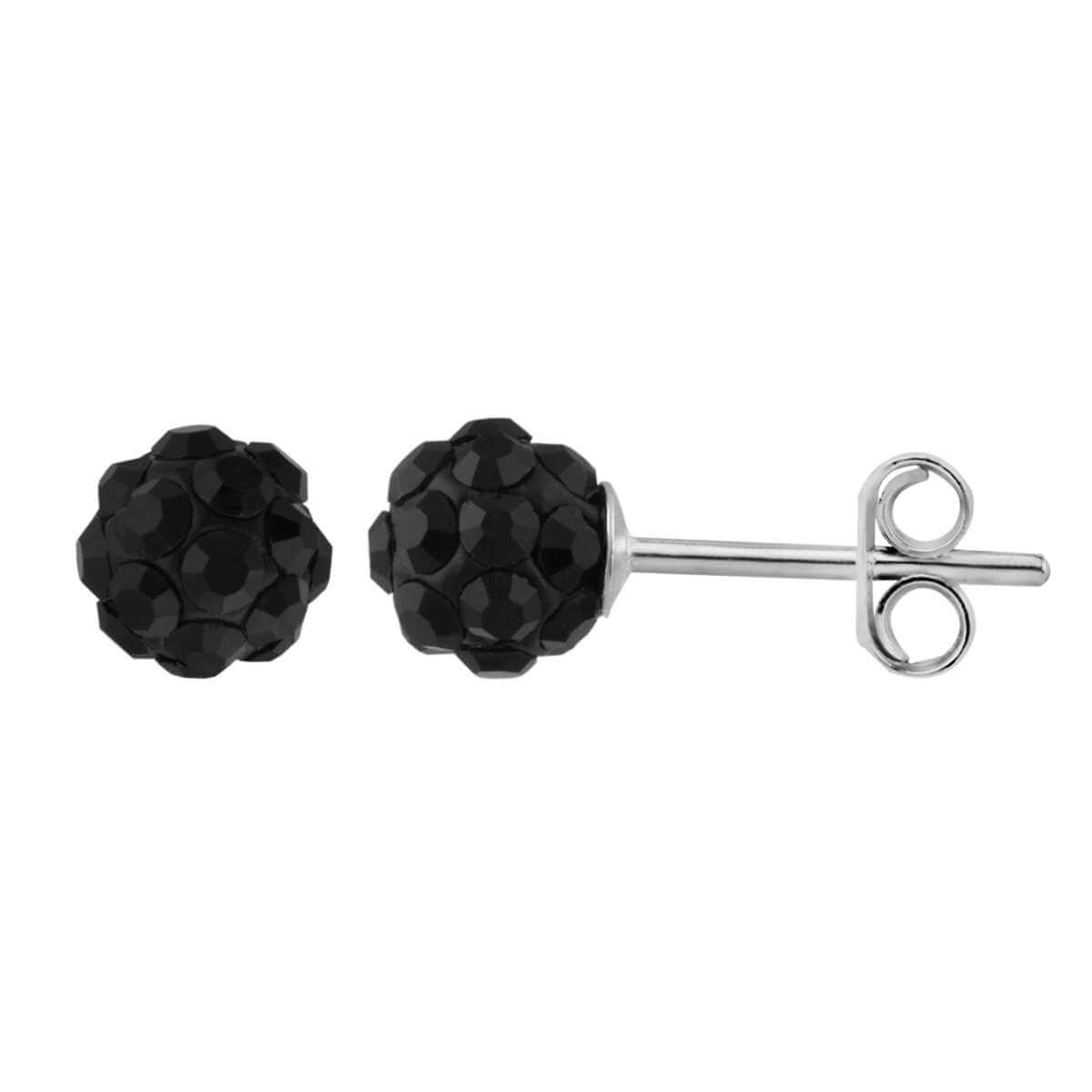 Sterling Silver & 5mm Jet Black CZ Crystal Ball Stud Earrings