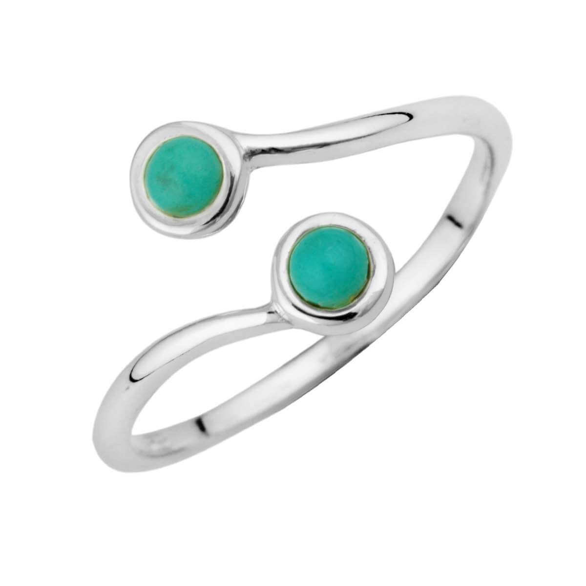 Sterling Silver & Faux Turquoise Adjustable Ring