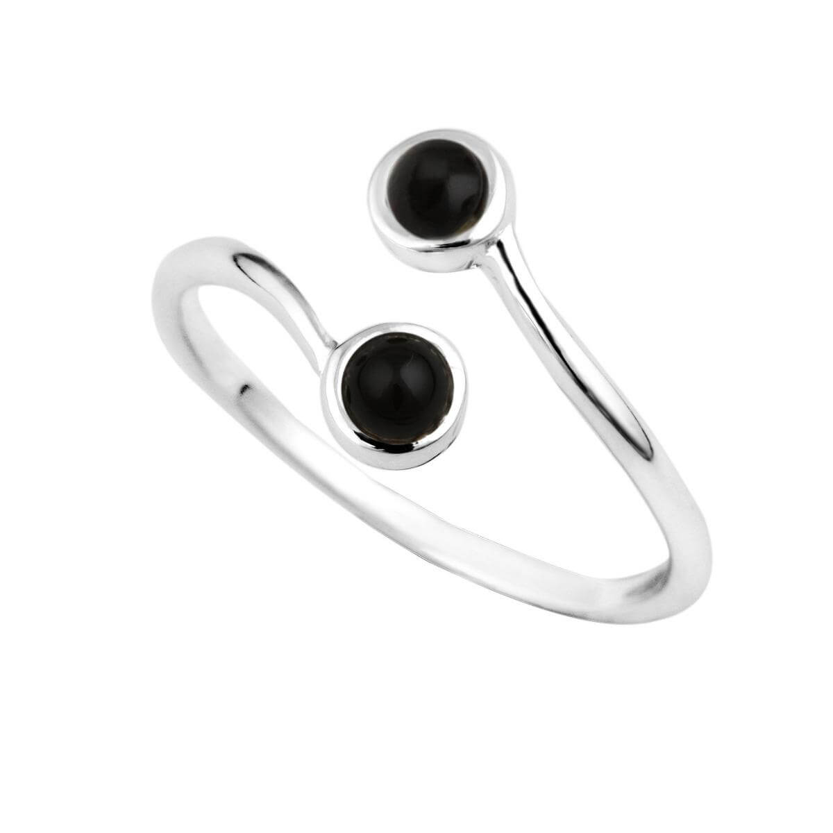 Sterling Silver & Black Stone Adjustable Ring