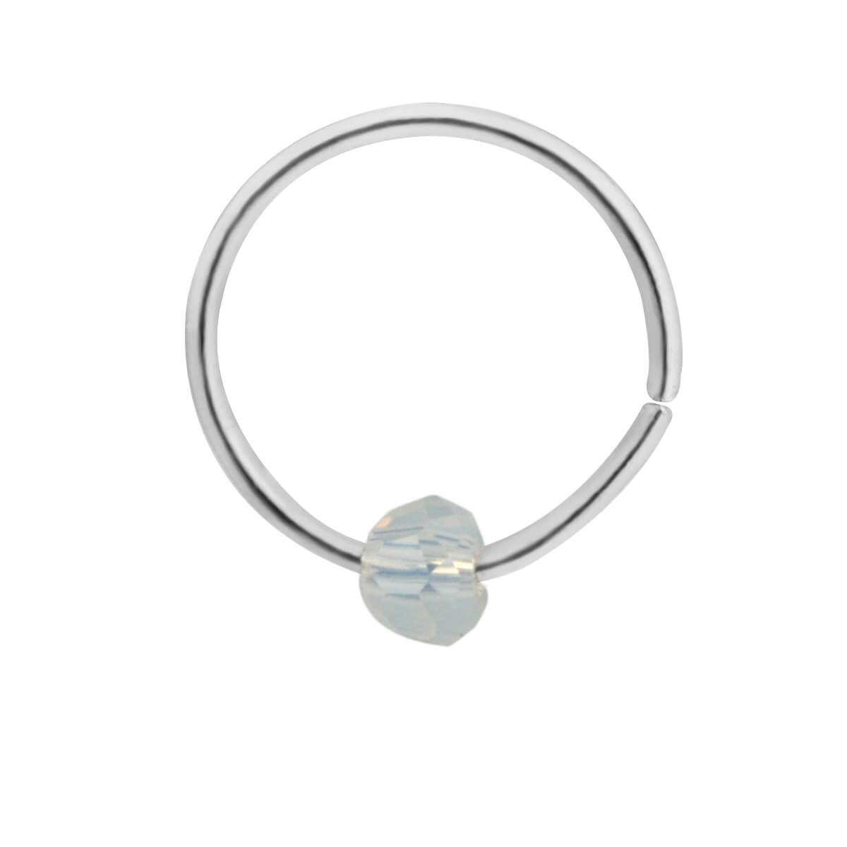 Sterling Silver & Faux Moonstone Bead Nose Ring hoop