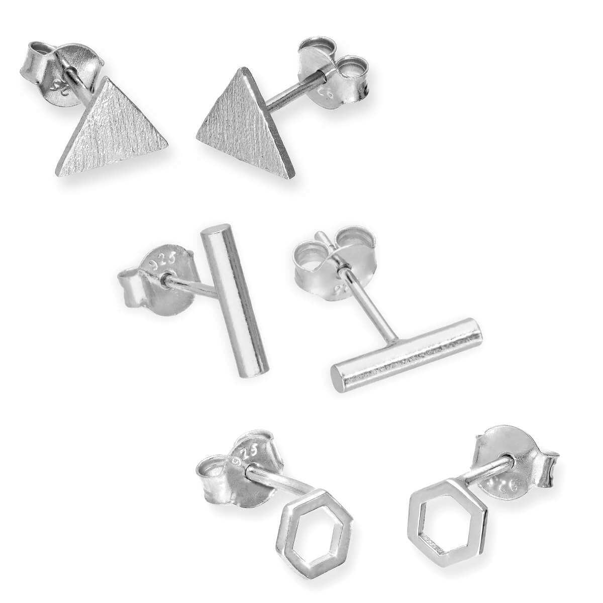 Sterling Silver 3 Pack Geometric Stud Earrings
