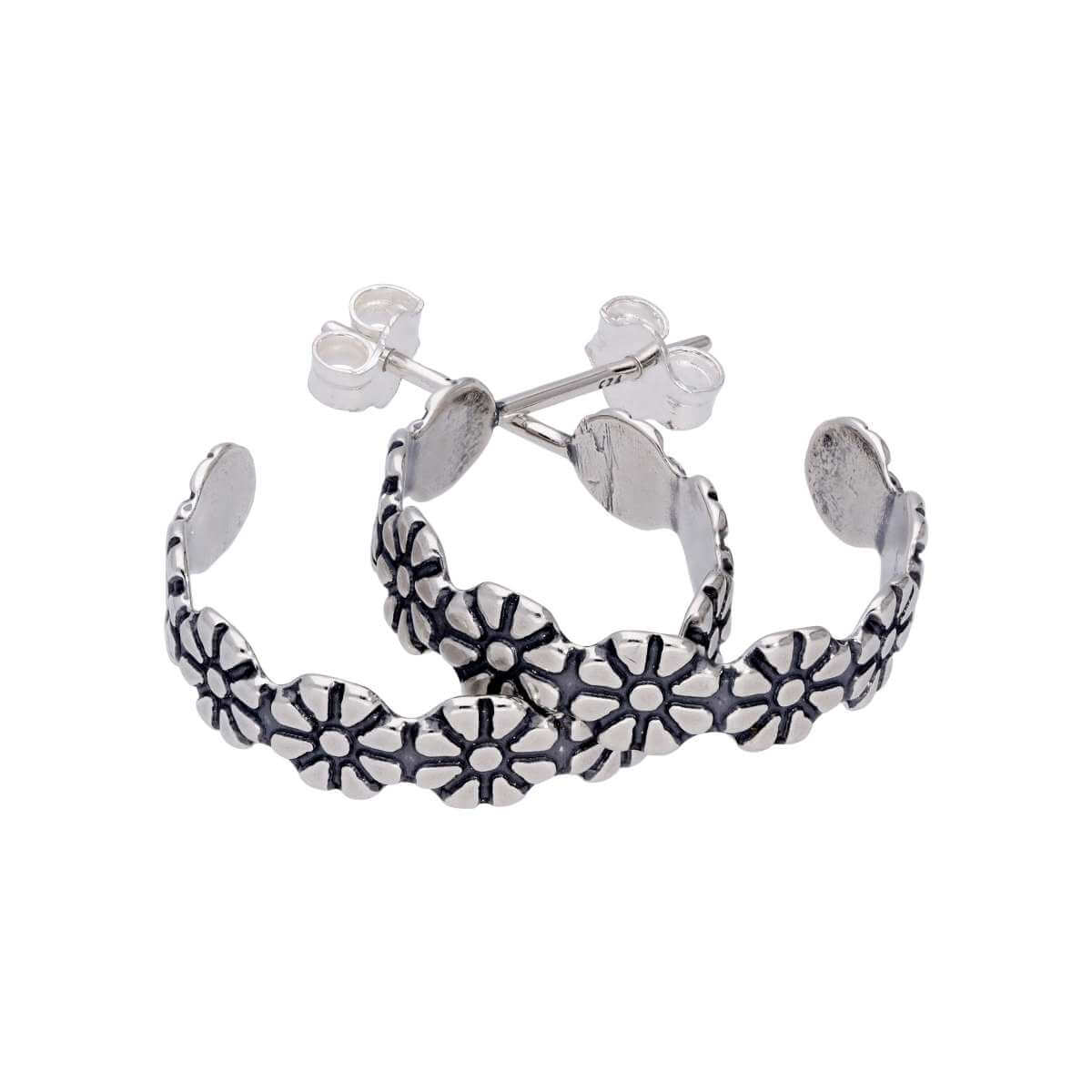 Sterling Silver Flower Daisy Oxidised Open Stud Hoop Earrings