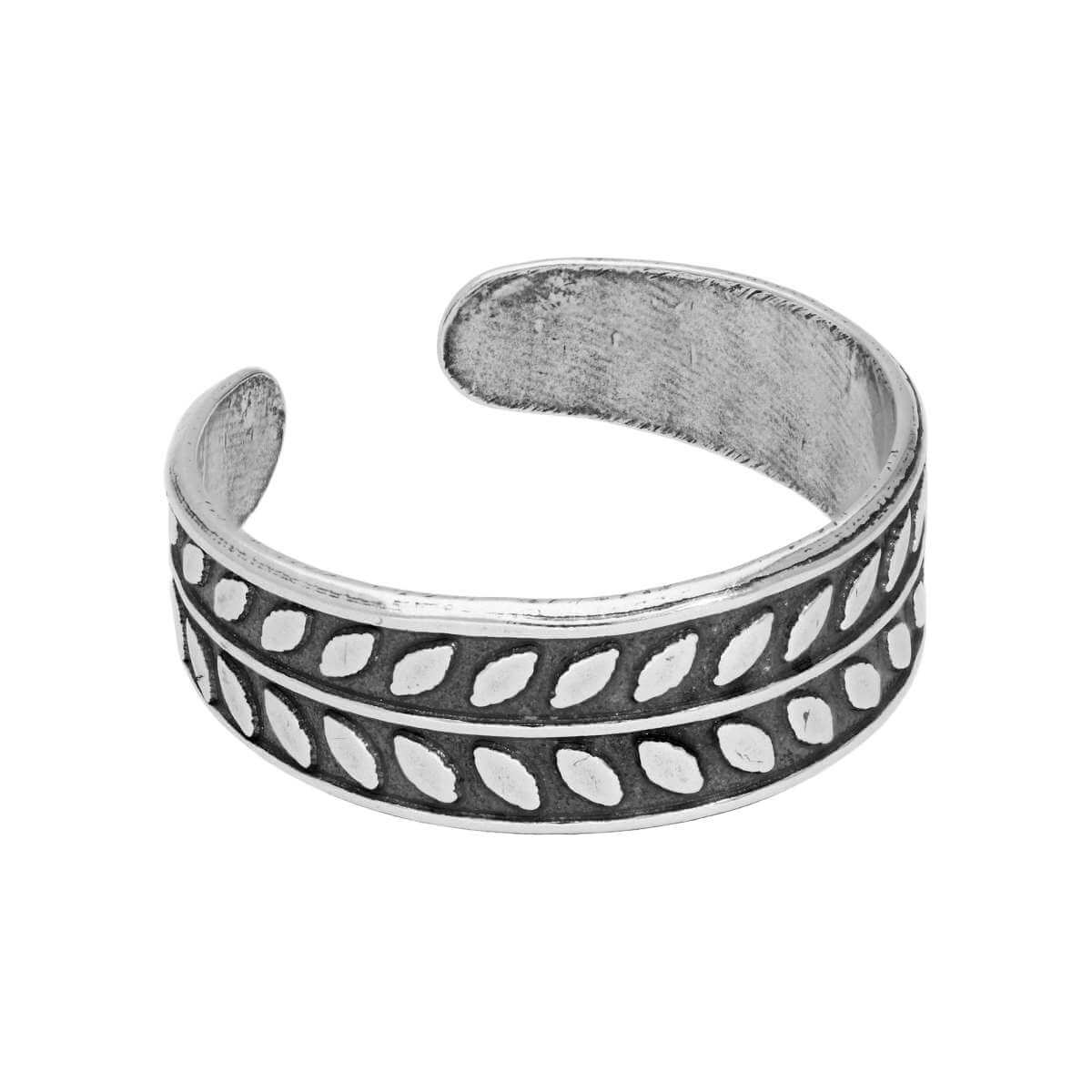 Sterling Silver Leaves Oxidised Adjustable Toe Ring