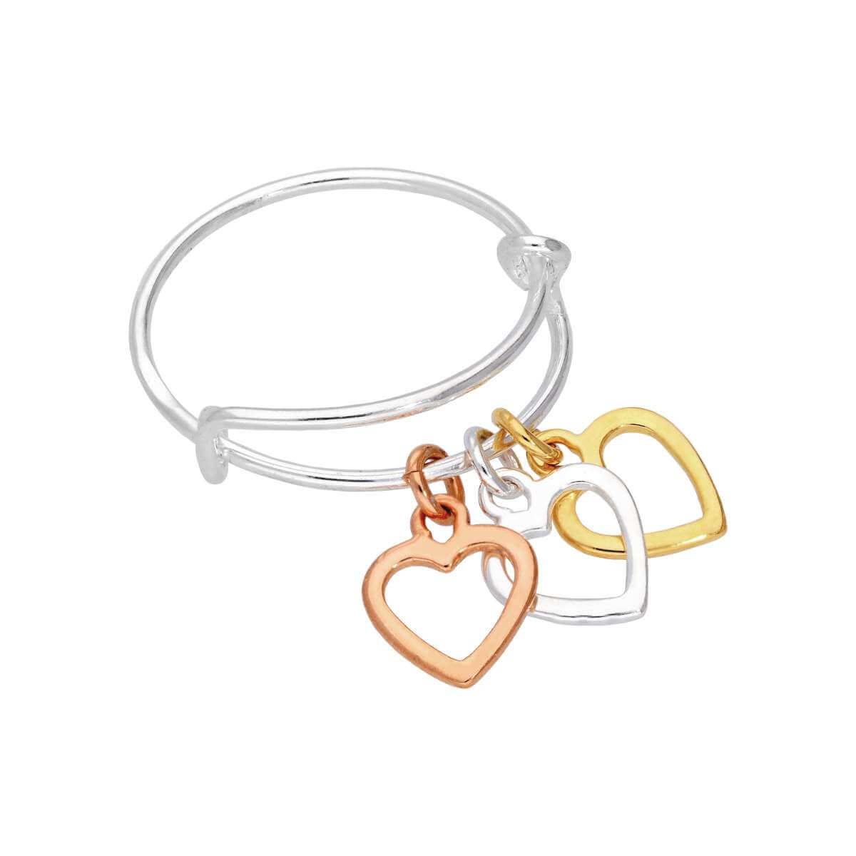 Sterling Silver & Gold Plated Triple Heart Drop Adjustable Ring
