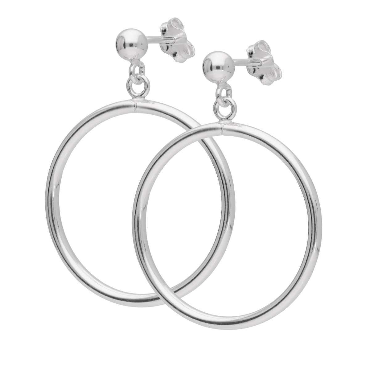 Sterling Silver Circle Ball Stud Drop Earrings