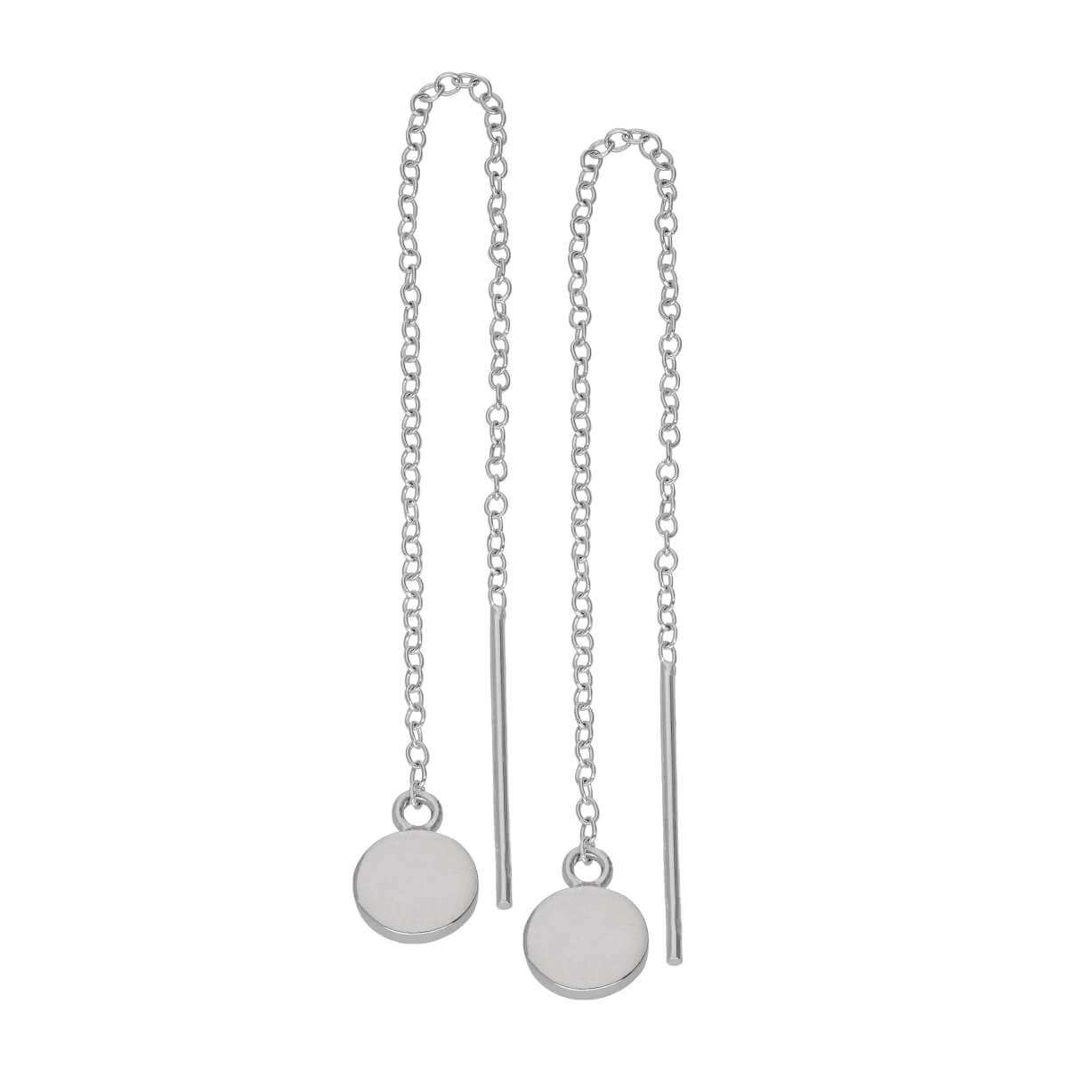 Sterling Silver Flat Round Disc Pull Through Earrings