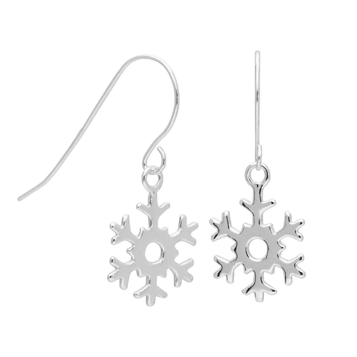 Sterling Silver Snowflake Dangle Drop Earrings