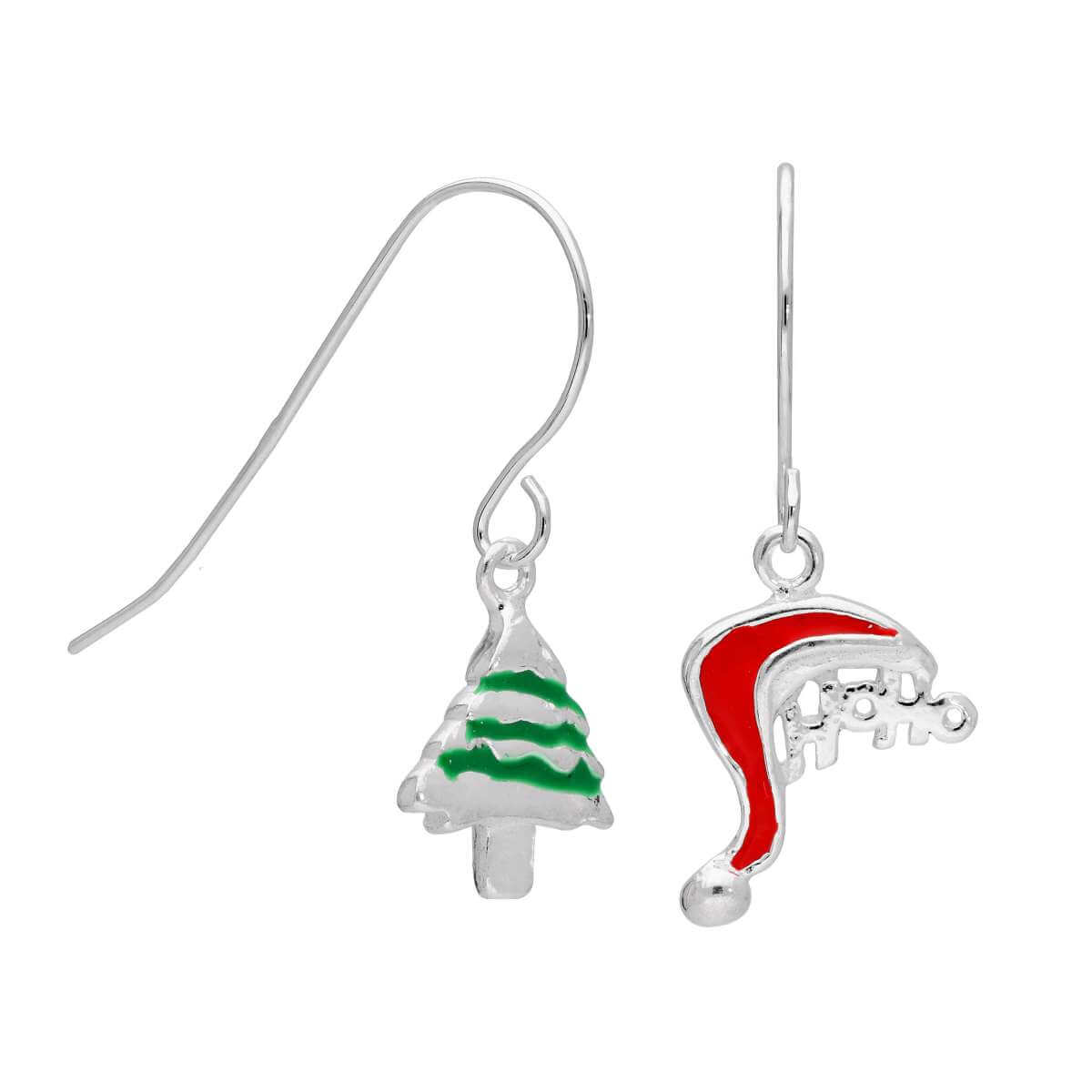 Sterling Silver Santa Hat & Christmas Tree Dangle Earrings