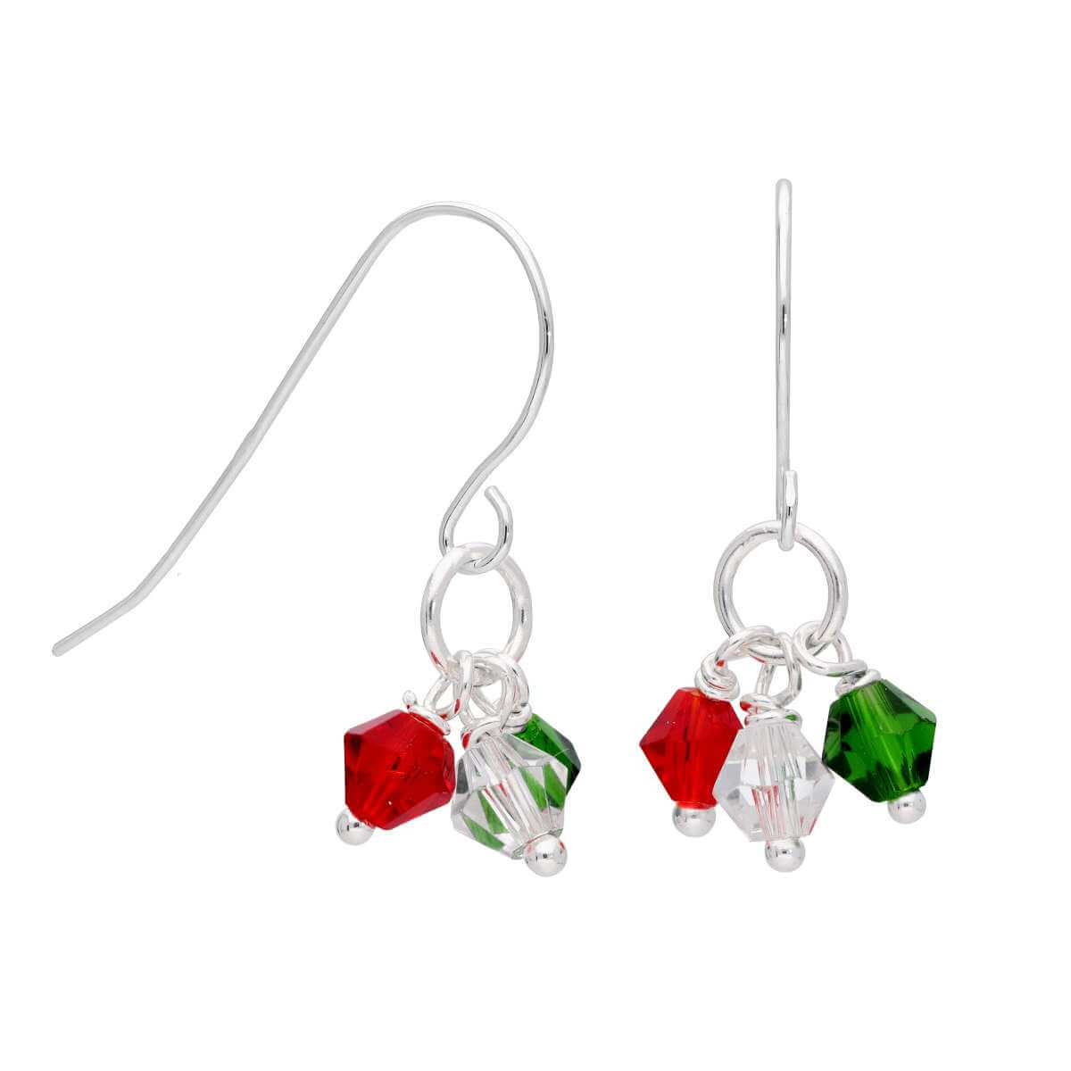 Sterling Silver Multi CZ Festive Bead Drop Earrings