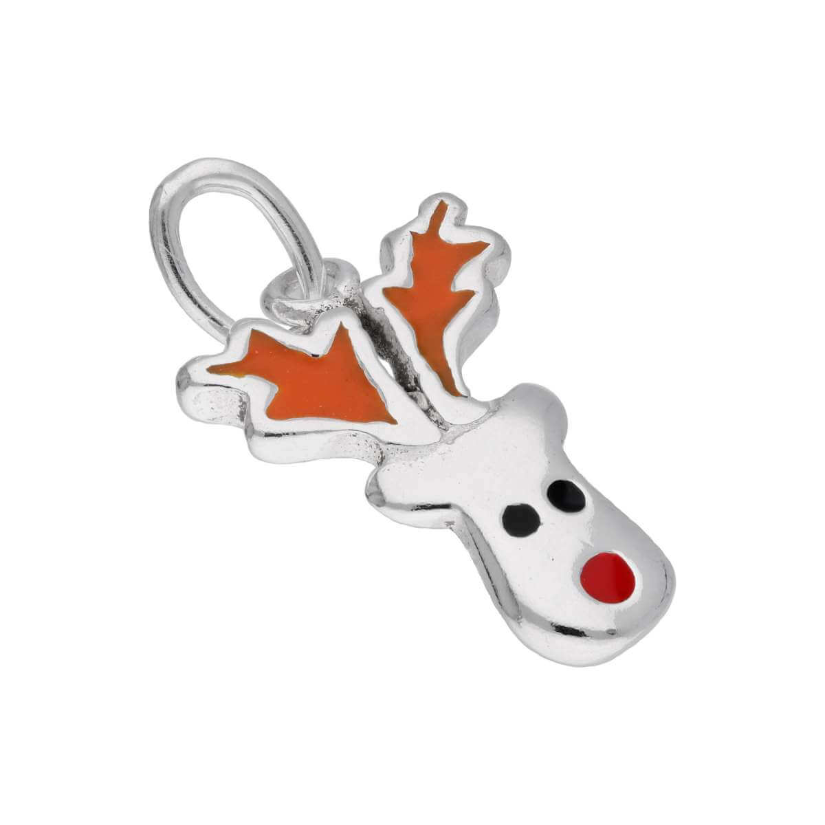Sterling Silver Red Nose Reindeer Enamel Charm