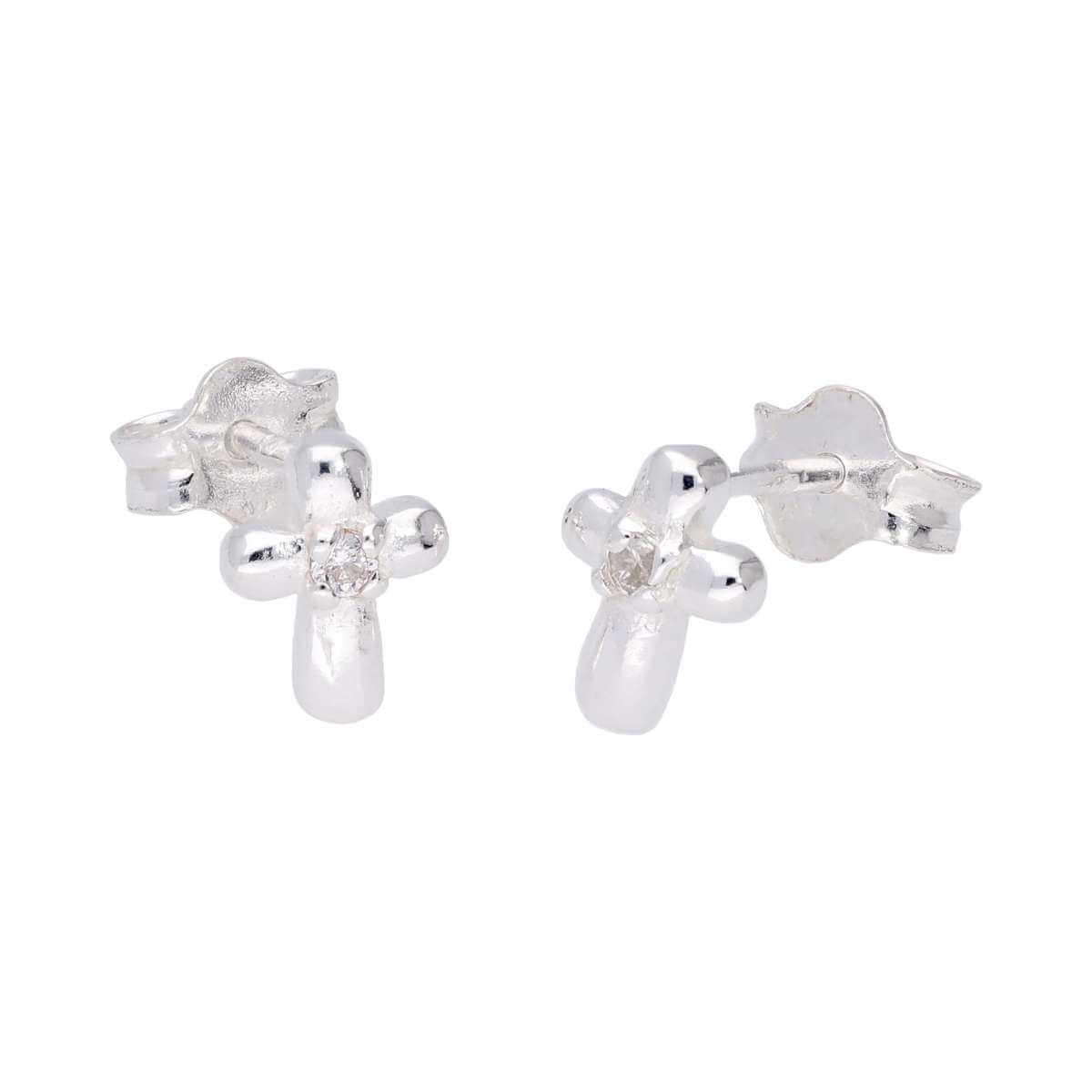 Sterling Silver Tiny Cross Clear CZ Stud Earrings