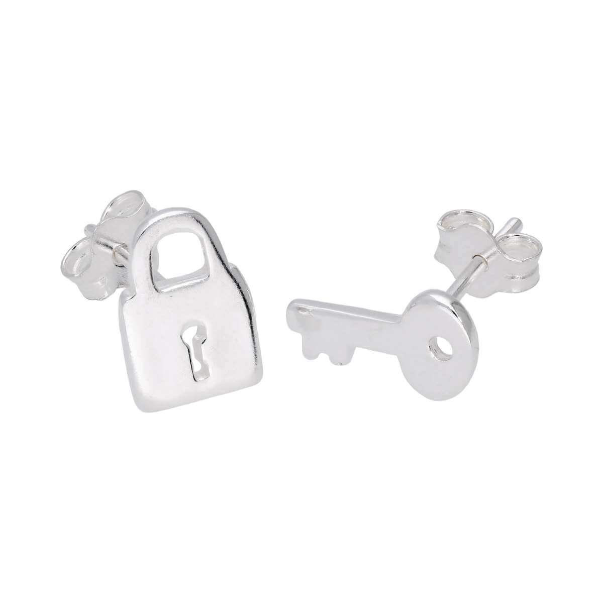 Sterling Silver Key Padlock Stud Earrings