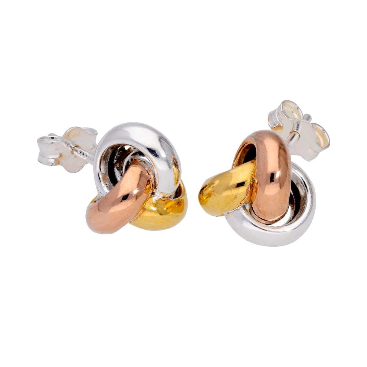 Tricolour Gold Plated Sterling Silver Knot Stud Earrings