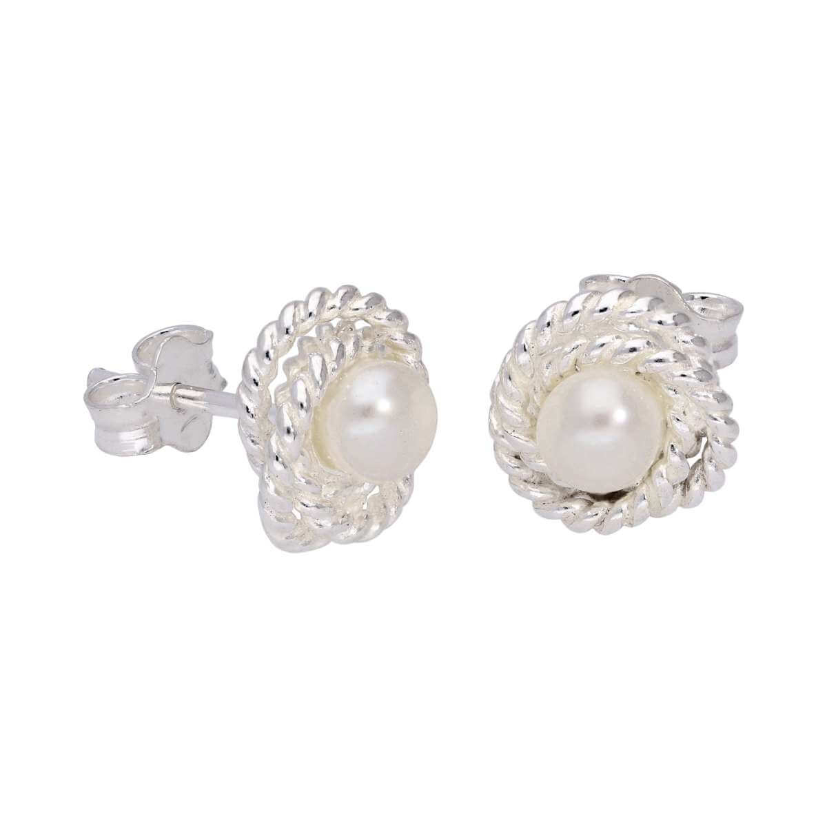 Sterling Silver Beaded Knot White Freshwater Pearl Stud Earrings