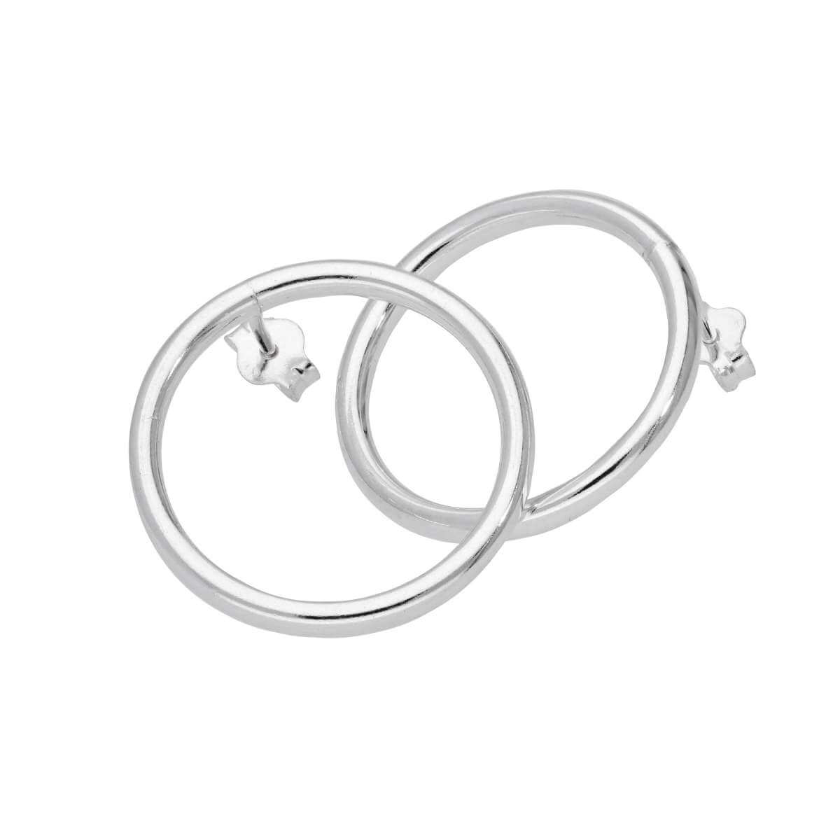 Sterling Silver 20mm Large Circle Stud Hoop Earrings