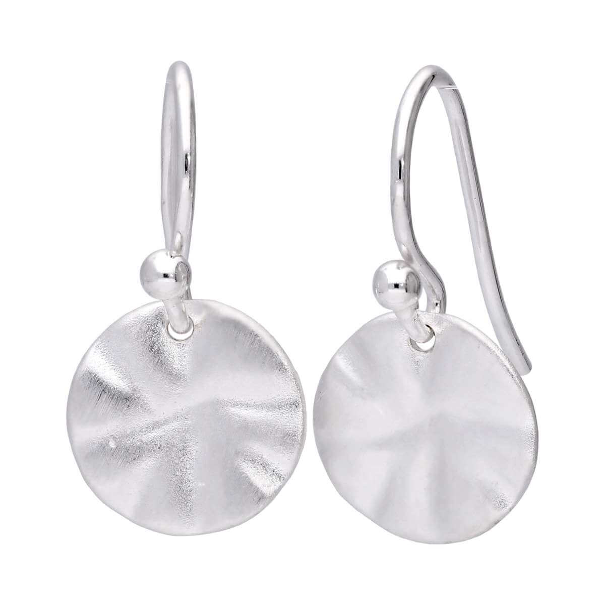 Sterling Silver Hammered Round Disc Drop Earrings