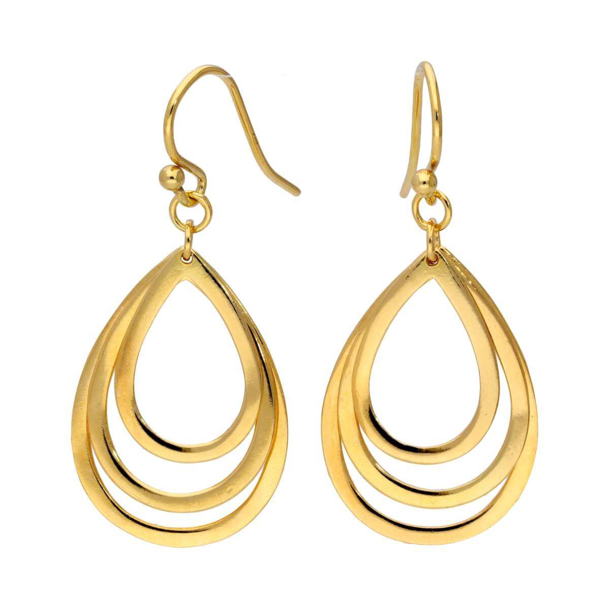 Yellow Gold Plated Sterling Silver Triple Teardrop Dangle Earrings