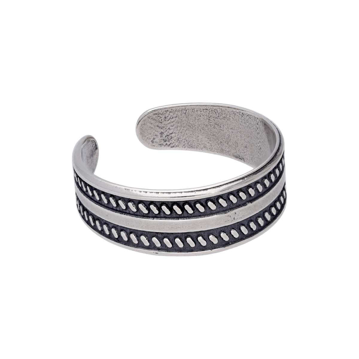 Sterling Silver Plain Twisted Oxidised Toe Ring