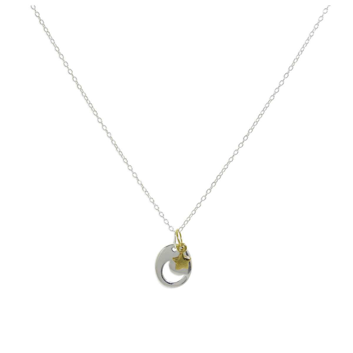 Sterling Silver Moon Disc Yellow Gold Plated Star Charm Pendant Necklace