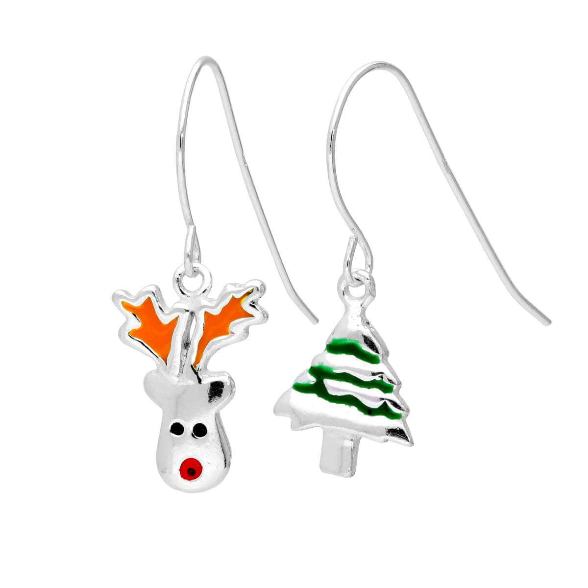 Sterling Silver Red Nose Reindeer Christmas Tree Mix & Match Dangle Drop Earrings