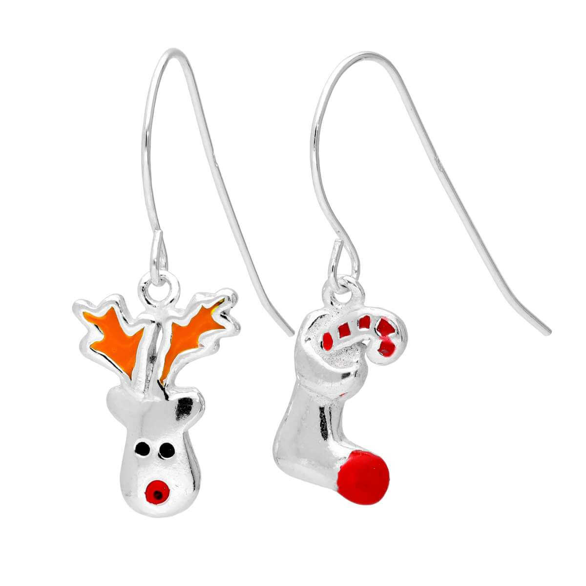 Sterling Silver Red Nose Reindeer Christmas Stocking Mix & Match Dangle Drop Earrings