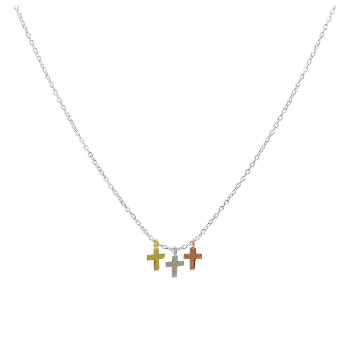 Sterling Silver Mixed Gold Plated Triple Cross Pendant Necklace