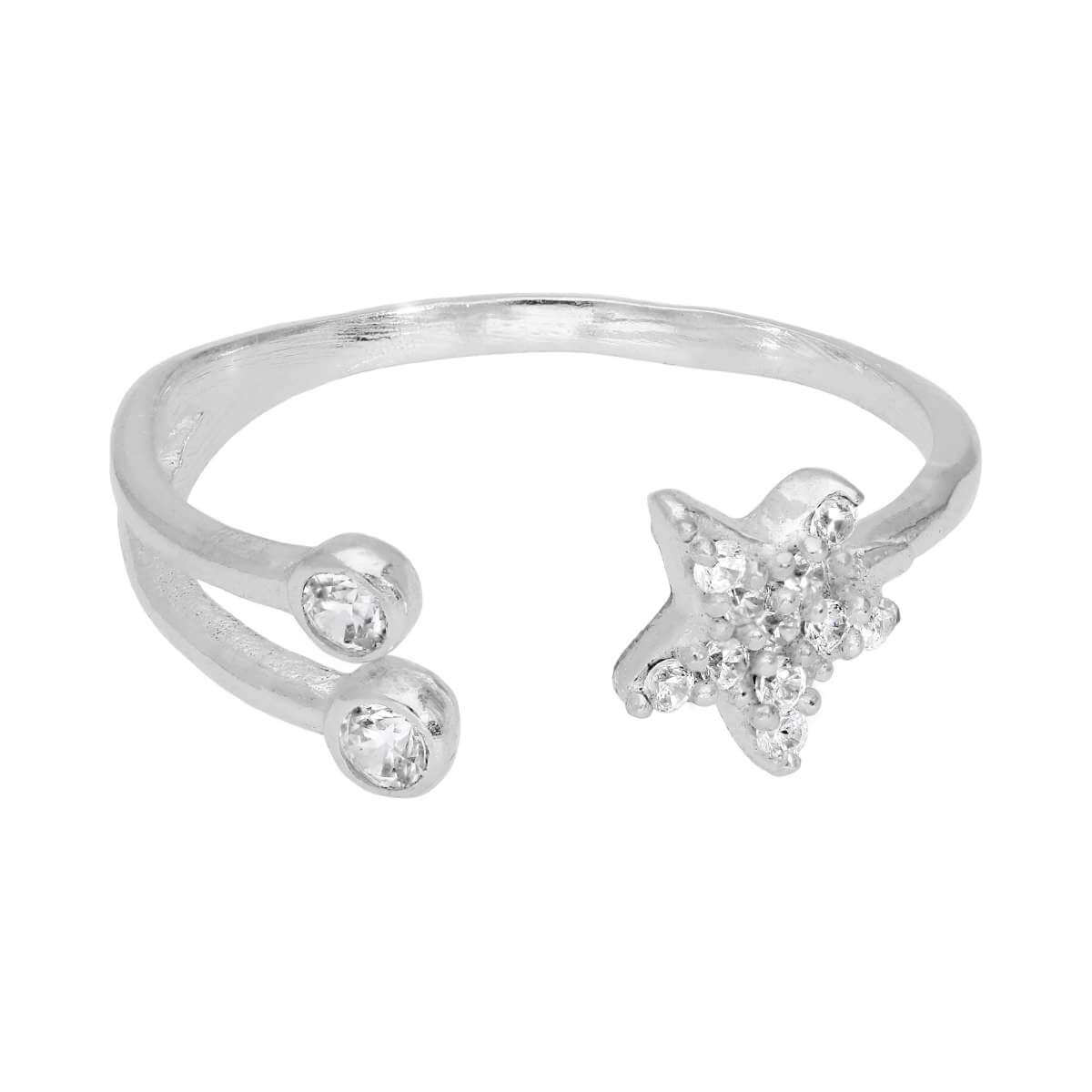Sterling Silver Clear CZ Star Open Adjustable Ring