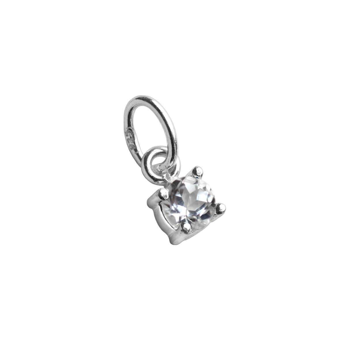 Sterling Silver Clear CZ April Birthstone Claw Pendant Charm