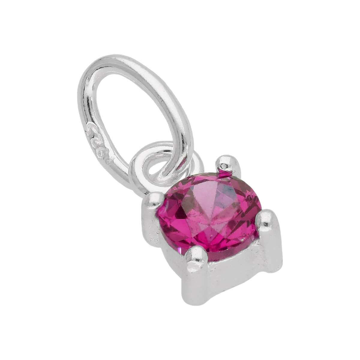 Sterling Silver Ruby CZ July Birthstone Claw Charm