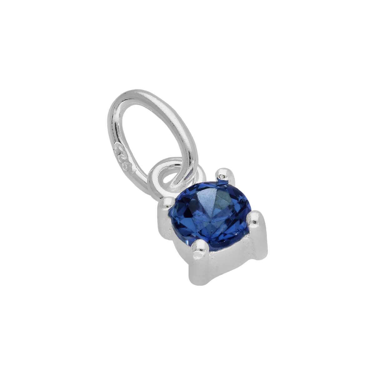 Sterling Silver Sapphire CZ September Birthstone Claw Charm