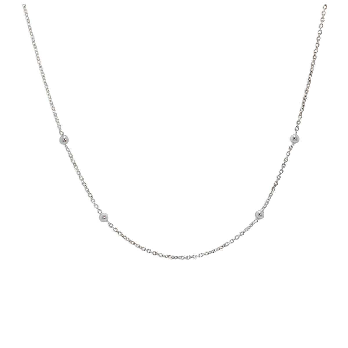 Sterling Silver 16 Inch Bobble Ball Chain Necklace