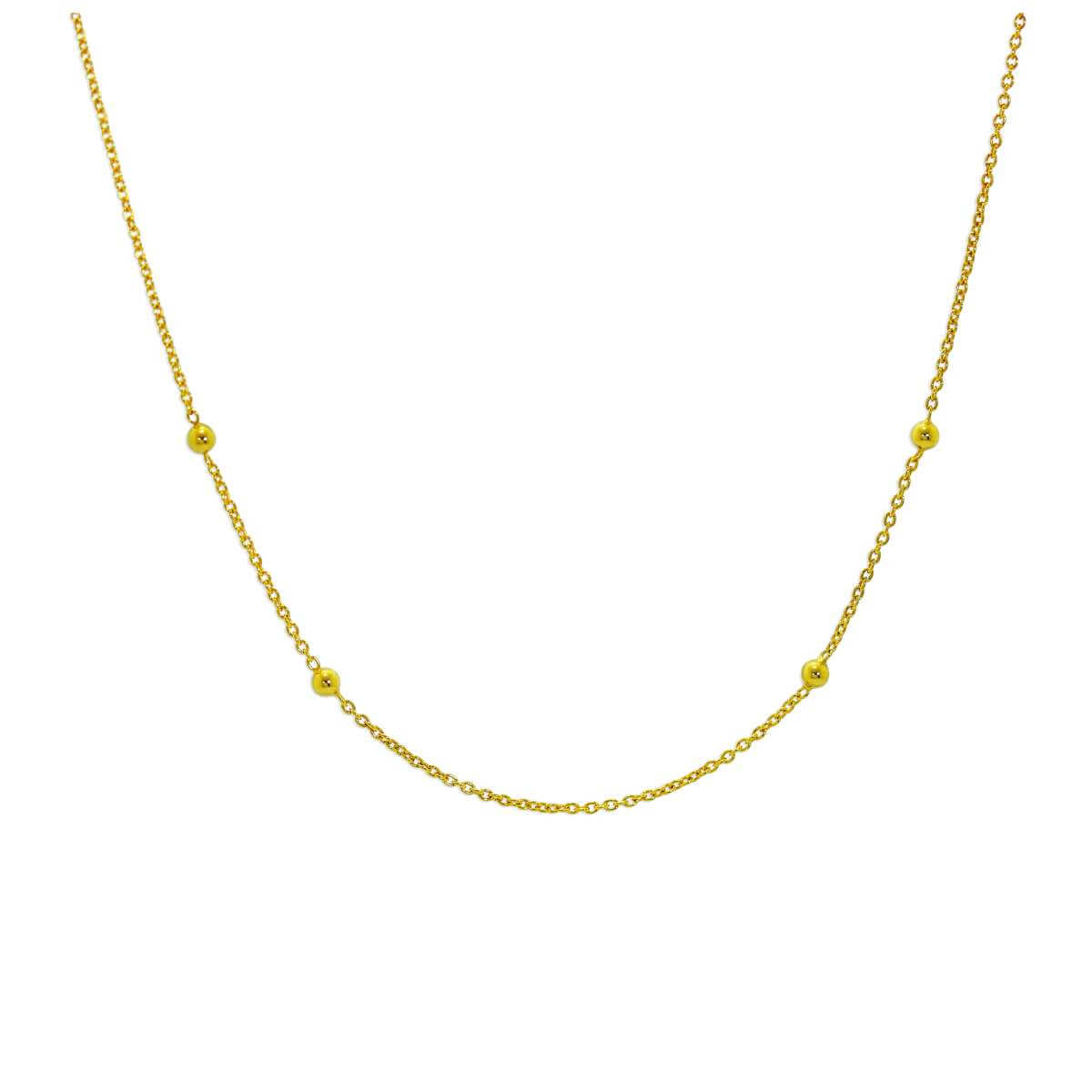 Gold Plated Sterling Silver Bobble 16 Inch Chain Necklace