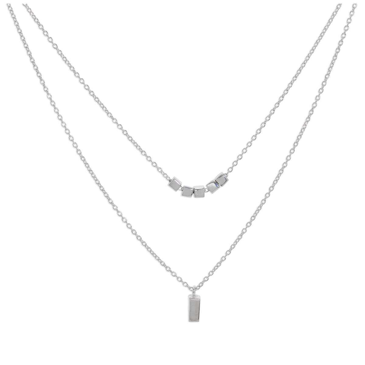 Sterling Silver Double Layer Cube 16 Inch Necklace