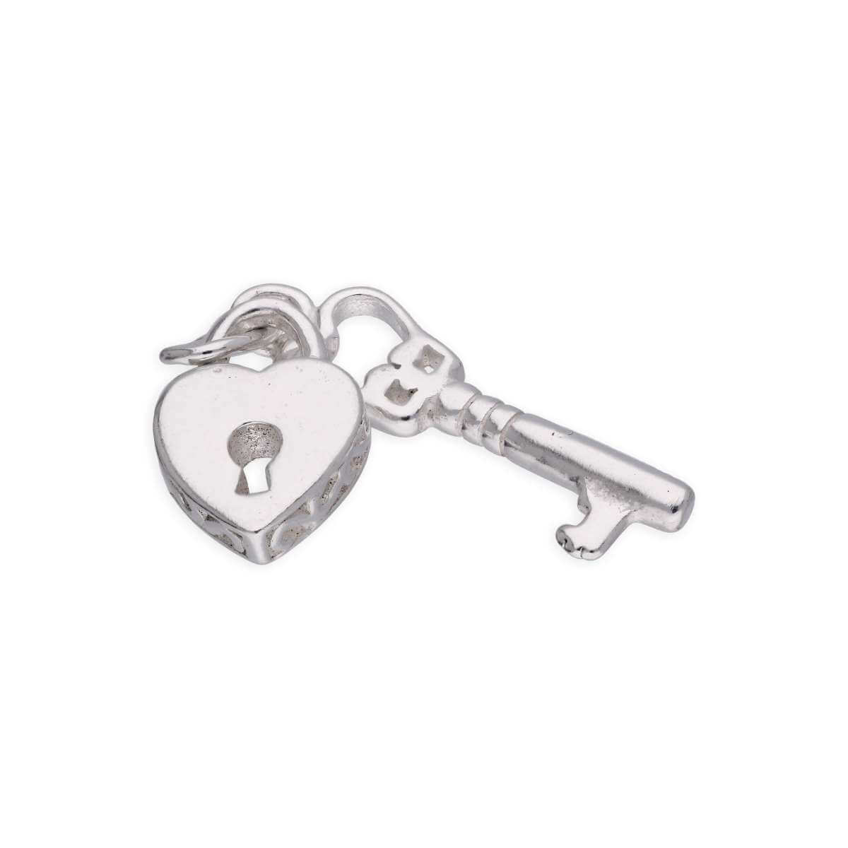 Sterling Silver Heart Padlock and Key Charm