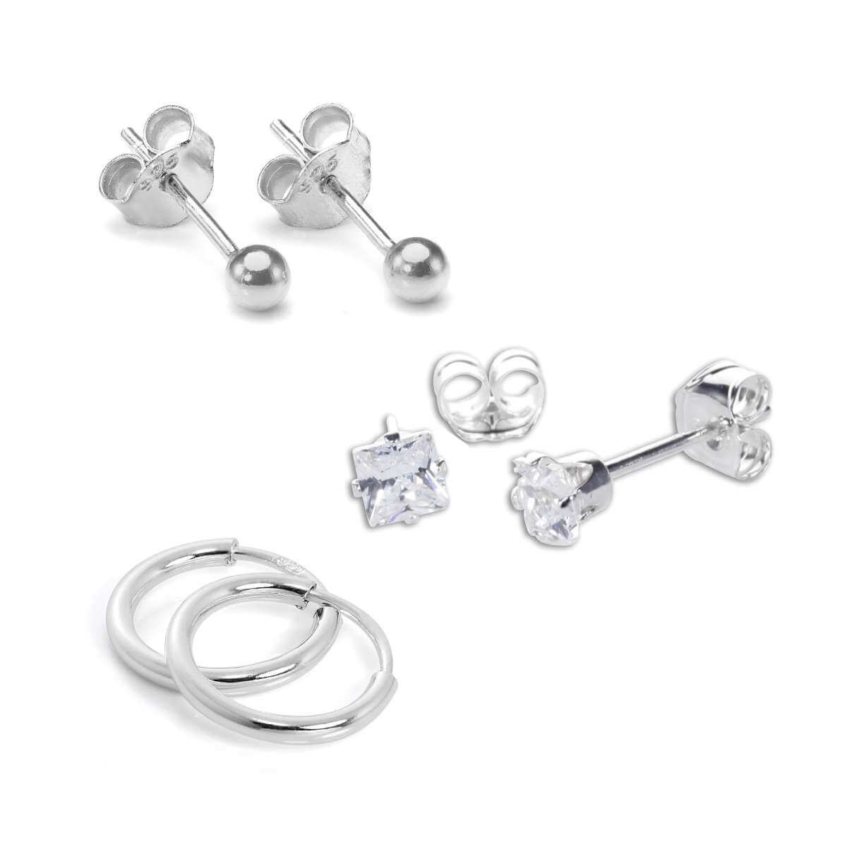Sterling Silver 3 Pack Essential Earrings