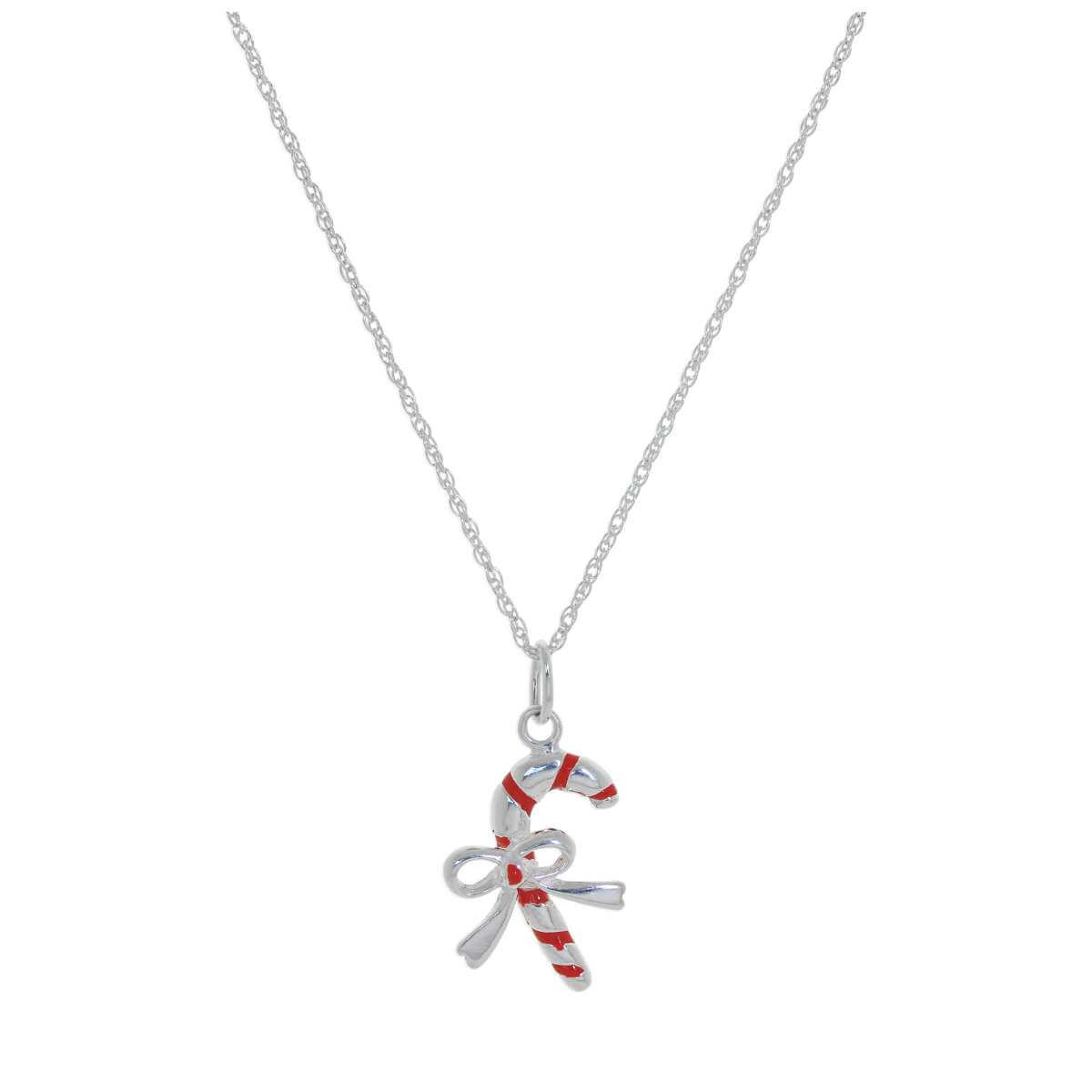 Sterling Silver Candy Cane Bow Red Enamel Necklace - 14 - 24 Inches