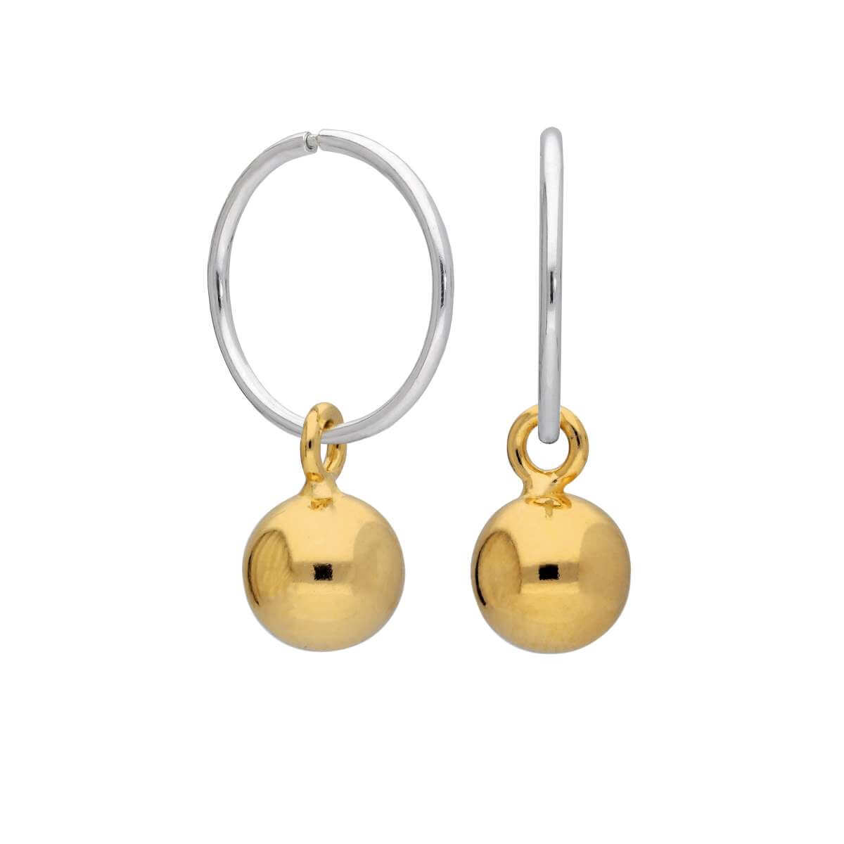 Gold Plated Sterling Silver Bauble Charm Hoop 12mm Earrings
