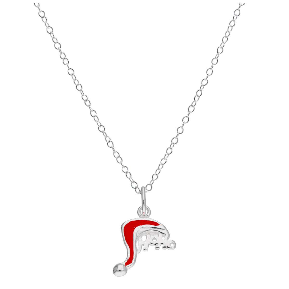 Sterling Silver Christmas Santa Hat HOHOHO Necklace 14 - 22 Inches