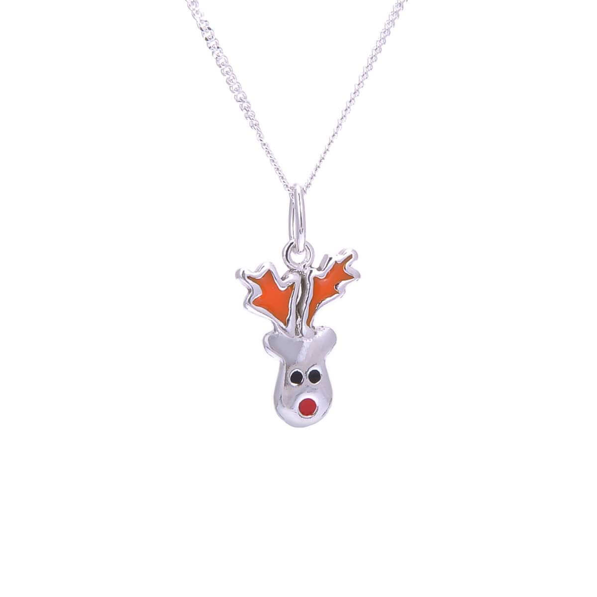 Sterling Silver Red Nose Reindeer Enamel Christmas Necklace