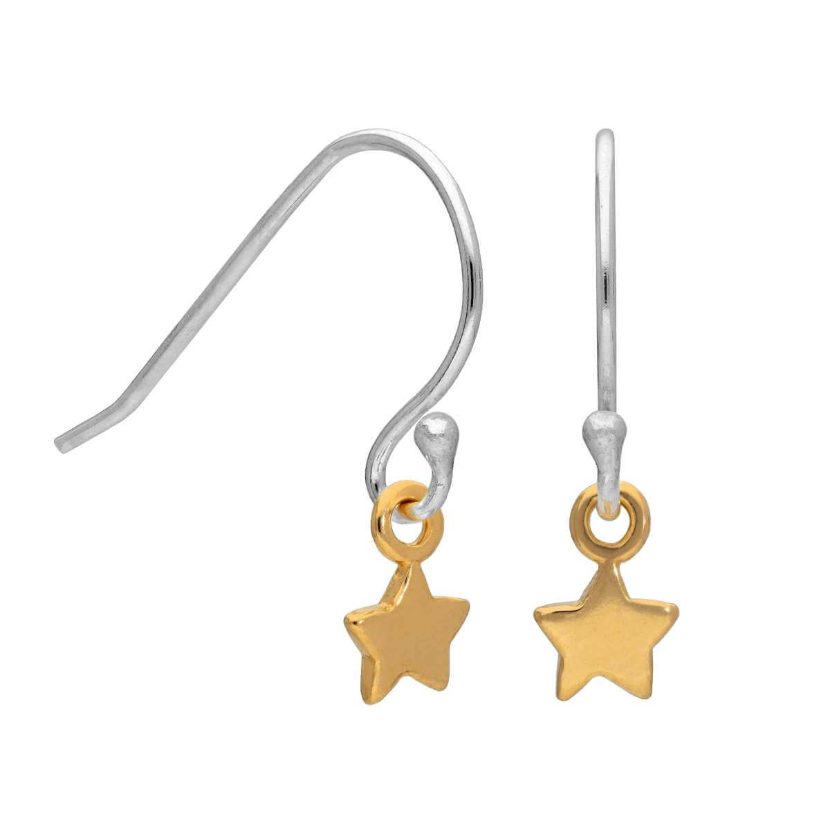 Gold Plated Sterling Silver Tiny Star Fish Hook Earrings