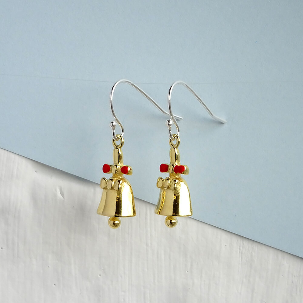 Yellow Gold Dipped Sterling Silver Jingle Bell Bow Charm Fishhook Earrings