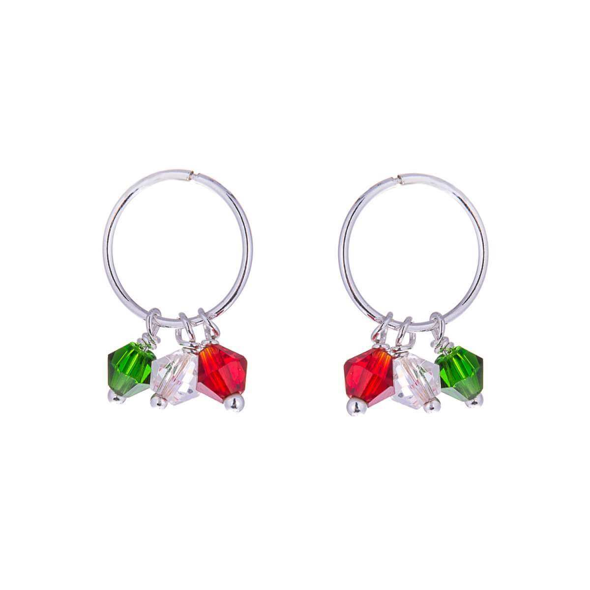 Sterling Silver Multicoloured CZ Bead Charm Hoop 12mm Earrings