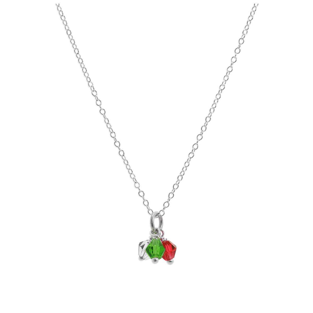 Sterling Silver Tricolour CZ Bead Necklace 14 - 32 Inches