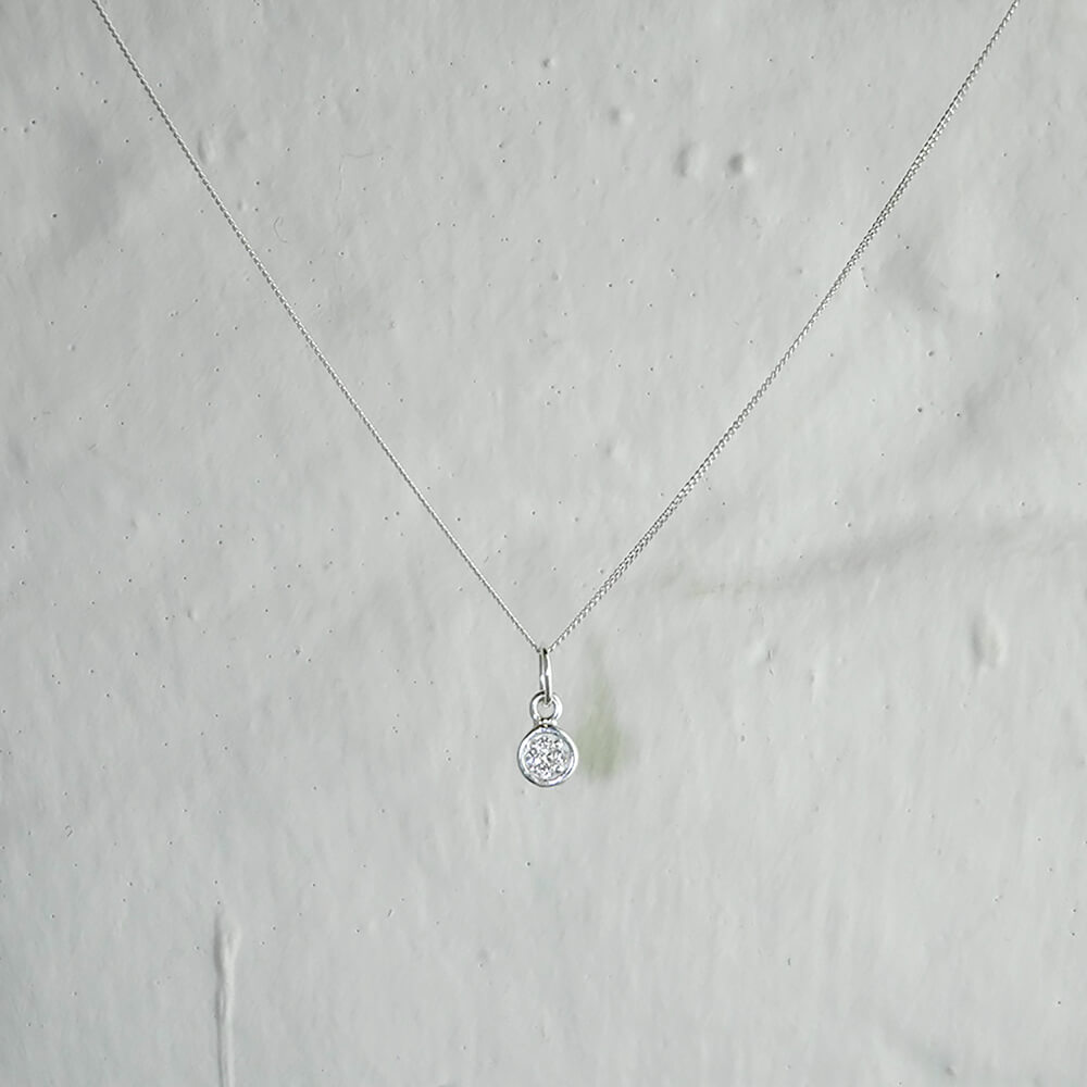 Small Sterling Silver Clear CZ Pave Round Necklace - 16 - 32 Inches