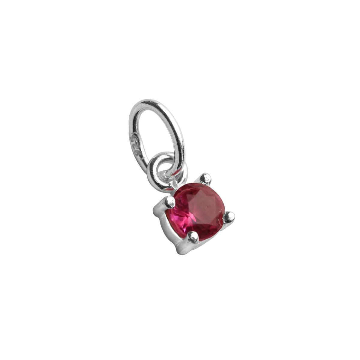 Sterling Silver Tourmaline CZ October Birthstone Claw Charm
