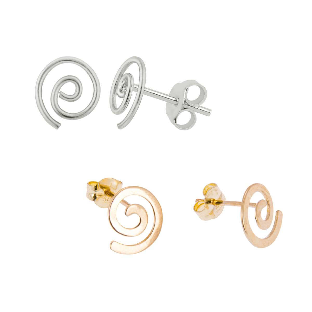 9ct Gold & Sterling Silver Spiral Stud Earrings Set