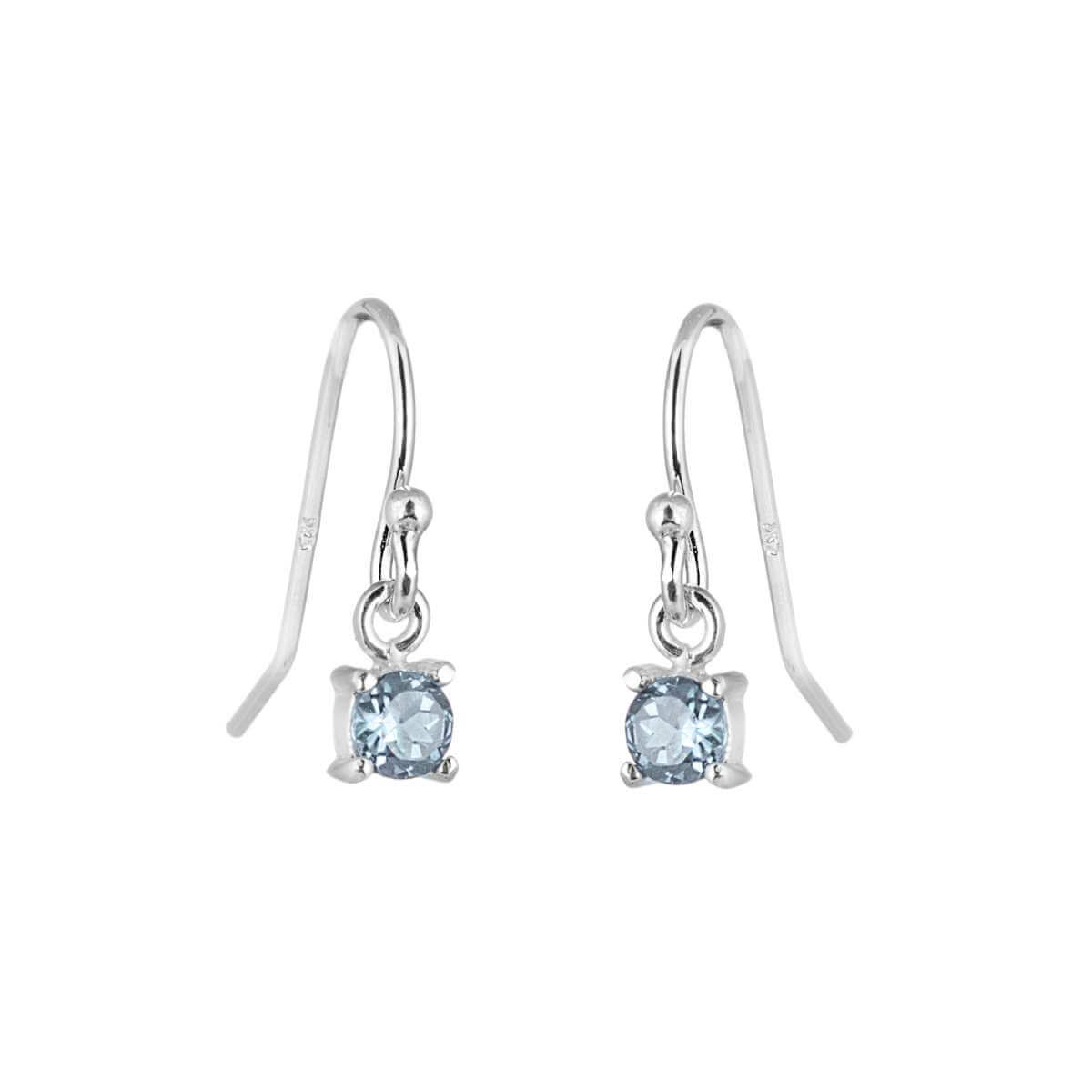 Sterling Silver Aquamarine CZ March Birthstone Dangle Earrings