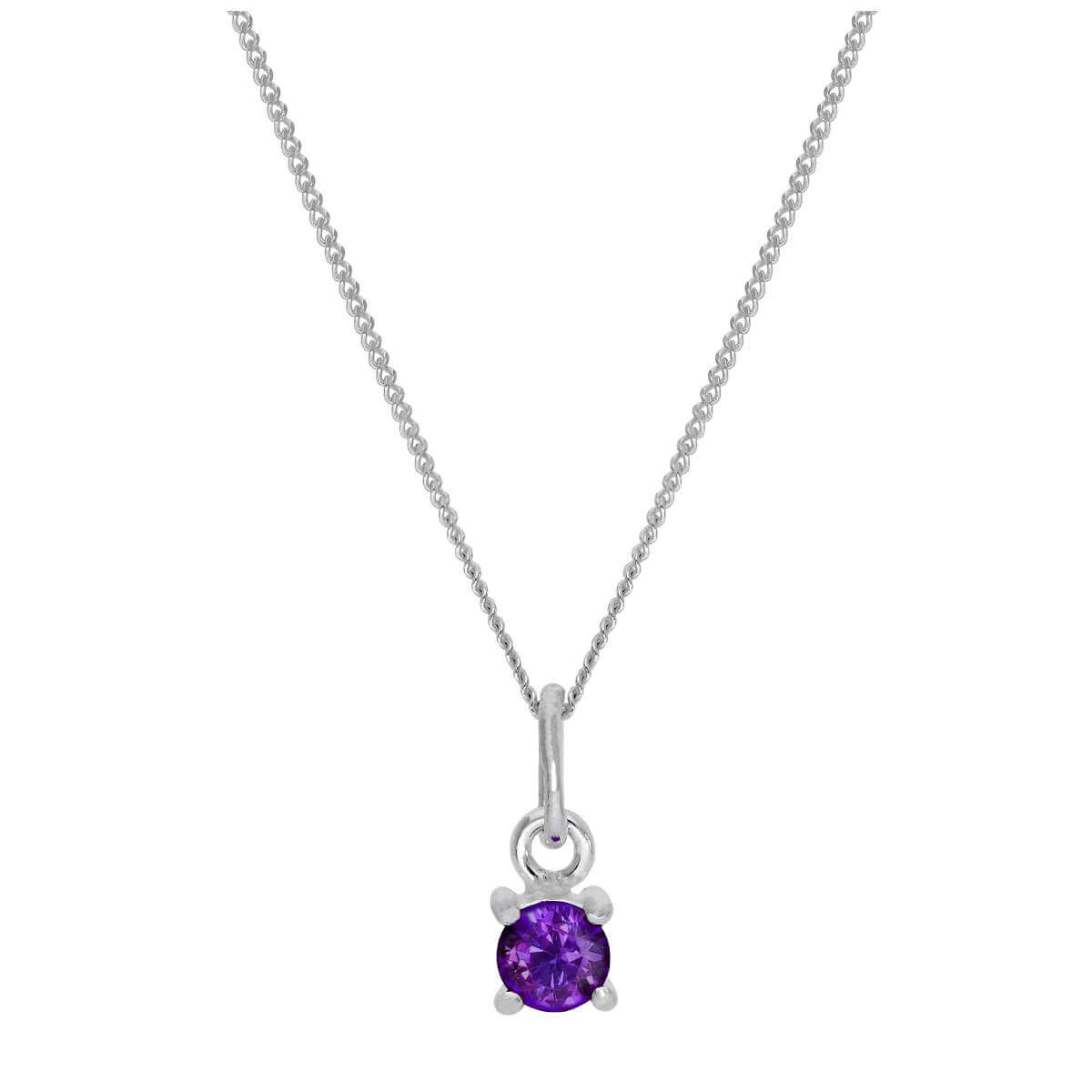 Sterling Silver Amethyst CZ February Birthstone Claw Necklace - 14 - 32 Inches
