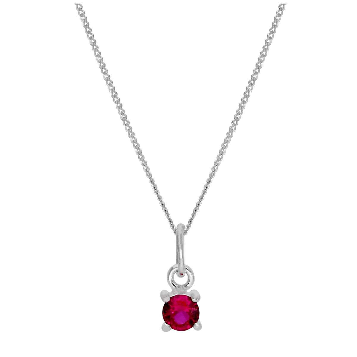 Sterling Silver Ruby CZ July Birthstone Claw Necklace - 14 - 32 Inches