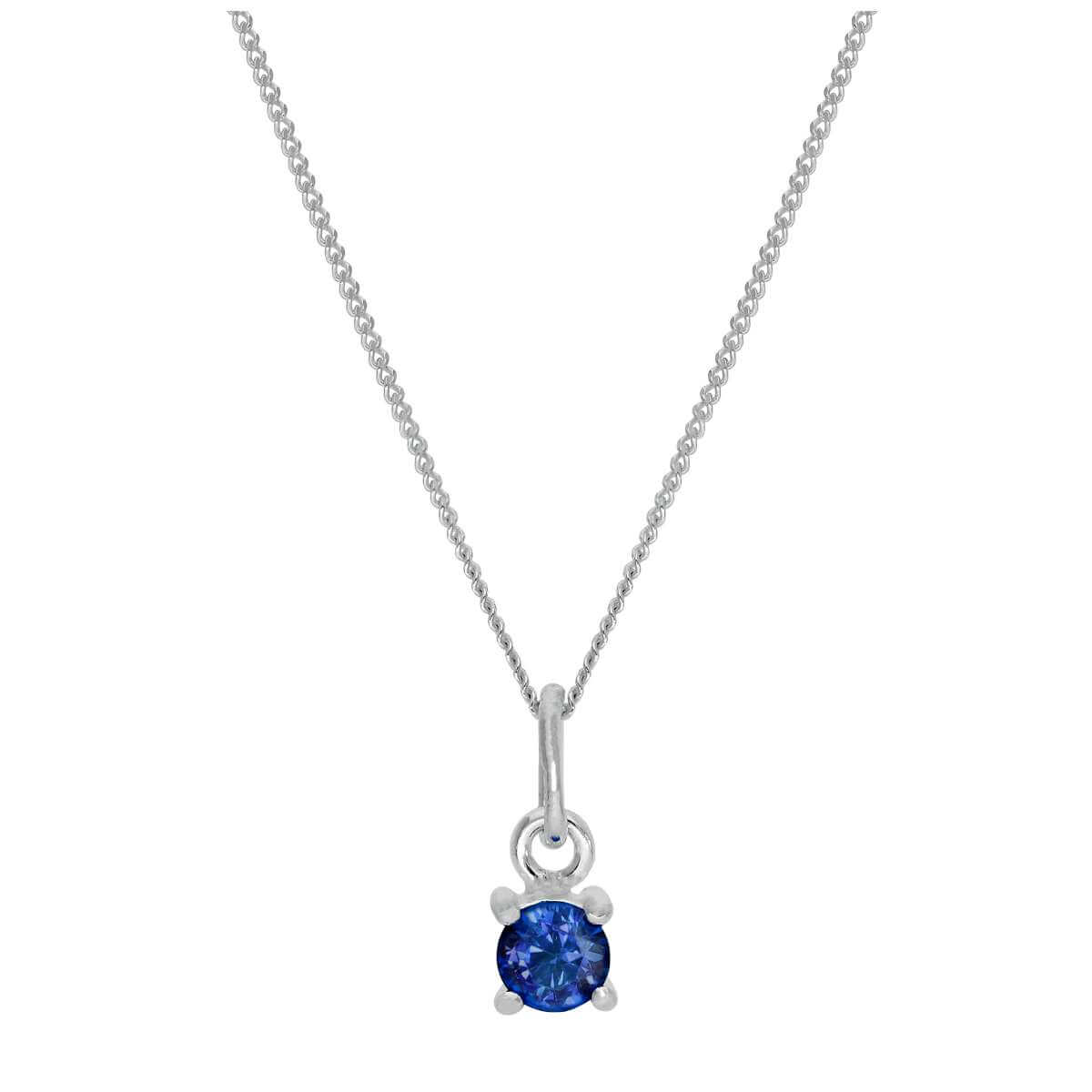 Sterling Silver Sapphire CZ September Birthstone Claw Necklace - 14 - 32 Inches